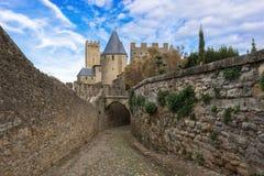 Średniowieczny miasto Carcassonne w Francja Zdjęcia Royalty Free