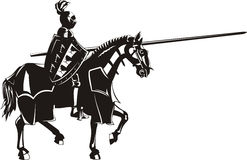 Średniowieczny rycerz na horseback Fotografia Royalty Free