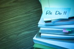 ReDo; The Pile of Business Documents on the Desk.  royalty free stock images