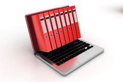 RedOffice Files Projecting From Laptop Royalty Free Stock Image