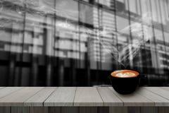 Redolent cappuccino coffee with smoke heart shape. stock photo
