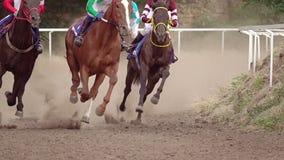 Redondeo del hipódromo en carreras de caballos Cámara lenta almacen de metraje de vídeo