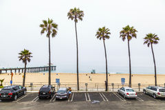 Redondo Beach in Los Angeles with Pier and Parking Place Royalty Free Stock Photography