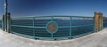 Redondo Beach pier rail with dolphin. Redondo beach California Panoramic with the pier Royalty Free Stock Image