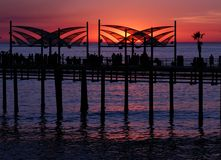 Redondo Beach Pier Sunset. Sun setting on the Redondo Beach pier in southern California stock photo