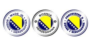 ` Redondo de la etiqueta hecho en el ` de Bosnia y Herzegovina con la bandera Foto de archivo libre de regalías