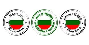 ` Redondo de la etiqueta hecho en el ` de Bulgaria con la bandera Imagen de archivo libre de regalías