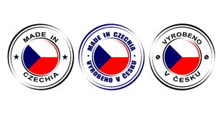 ` Redondo de la etiqueta hecho en el ` de Czechia con la bandera Fotos de archivo libres de regalías
