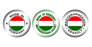 ` Redondo de la etiqueta hecho en el ` de Hungría con la bandera Fotografía de archivo