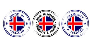 ` Redondo de la etiqueta hecho en el ` de Islandia con la bandera Fotos de archivo libres de regalías