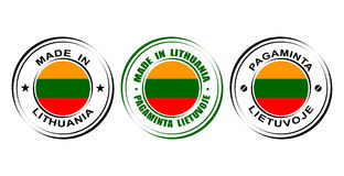 ` Redondo de la etiqueta hecho en el ` de Lituania con la bandera Fotografía de archivo libre de regalías