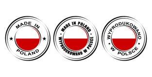 ` Redondo de la etiqueta hecho en el ` de Polonia con la bandera Fotos de archivo