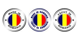 ` Redondo de la etiqueta hecho en el ` de Rumania con la bandera Imagen de archivo libre de regalías