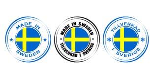 ` Redondo de la etiqueta hecho en el ` de Suecia con la bandera Imagen de archivo