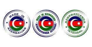 ` Redondo de las etiquetas hecho en el ` de Azerbaijan con la bandera Fotografía de archivo libre de regalías