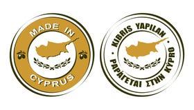 ` Redondo de las etiquetas hecho en el ` de Chipre con el icono de la bandera y de las aceitunas ilustración del vector