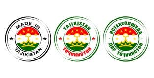 ` Redondo de las etiquetas hecho en el ` de Tayikistán con la bandera stock de ilustración