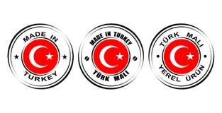 ` Redondo de las etiquetas hecho en el ` de Turquía con la bandera Foto de archivo
