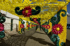 Redondo flower feast. Street decorated with colorful paper flowers in Redondo, Portugal Stock Photo