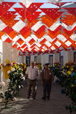 Redondo flower feast. Street decorated with colorful paper flowers in Redondo, Portugal Royalty Free Stock Photos