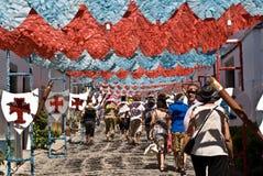 REDONDO PORTUGAL -10 AUGUSTI 2013. Festivalblomma i gator I Royaltyfria Bilder