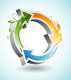 Redondo recicle el symbor con los elementos de las tierras ilustración del vector