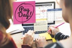 Redovisning för löndag som packar ihop begrepp för budget- ekonomi Arkivfoton