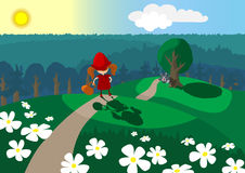 Redridinghood. Sunny day.Red riding hood and gray wolf Royalty Free Stock Photos