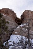 Redrock Formation with Snow and Pine Trees Moab Utah. Winter scene with snow and redrock formations and bare trees with pinon pine and juniper royalty free stock photography
