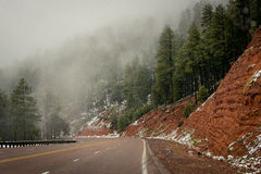 Redrock Strom. A late spring storm blows across the pines Stock Image