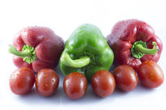 Reds and green peppers Royalty Free Stock Photos