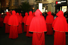The reds. Hooded in the famous easter procession at piano di sorrento in italy.29/3/13 Stock Photo