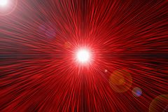 Reds rays -  glare that the radiates from centre. Red flare - rays, which radiate from bright star Stock Images