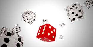 Reds and white dices falling. Red and white dice thrown . Gambling . Awards and casinos. Luck royalty free stock photography