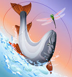Redsalmon. Illustration with red salmon  jumping  out of the water to a hook with dragonfly bait against early morning sky Stock Image
