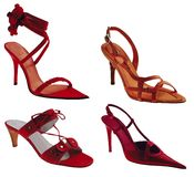 RedShoes. Four red high shoes isolated on white Royalty Free Stock Image