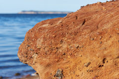 Redstone on island Fur. Red sandstone on the beach of island Fur, Geology Royalty Free Stock Image