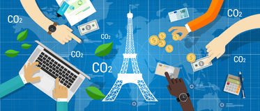 Redução de emissão do carbono do acordo do clima do acordo de Paris global Fotos de Stock