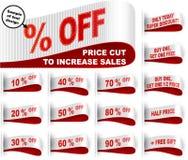 A redução de preços costurada etiqueta de mercado da etiqueta da roupa da etiqueta ajustou o vermelho branco Fotos de Stock