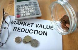 Reducción del valor de mercado Imagen de archivo libre de regalías