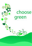 Reduce. Ecological background with green bicycle Royalty Free Stock Photos