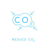 Reduce carbon CO2 emissions concept icon with cloud. Stock Images