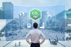 Free Reduce Carbon Dioxide Emissions To Limit Global Warming And Climate Change. Commitment To Paris Agreement To Lower CO2 Levels With Royalty Free Stock Image - 219963626