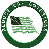 Reduce Carbon Emissions. Reduce carbon C02 emissions logo with a green American flag Royalty Free Illustration