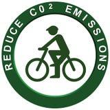 Reduce Carbon Emissions Pushbike. Reduce carbon C02 emissions logo with eco friendly pushbike Stock Illustration