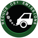 Reduce Carbon Emissions Vehicle. Reduce carbon C02 emissions logo with polluting car exhaust fumes Stock Illustration
