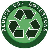 Reduce Carbon Logo. Reduce carbon C02 emissions logo portraying environmental issues Royalty Free Stock Images