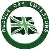 Reduce Carbon United Kingdom. Reduce carbon C02 emissions logo with a green United Kingdom flag Stock Illustration
