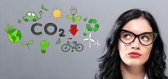 Reduce CO2 with young businesswoman Royalty Free Stock Photos