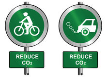 Reduce CO2. Environmental reduce CO2 signs mounted on post royalty free illustration